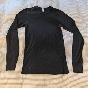 American Apparel black waffle knit thermal